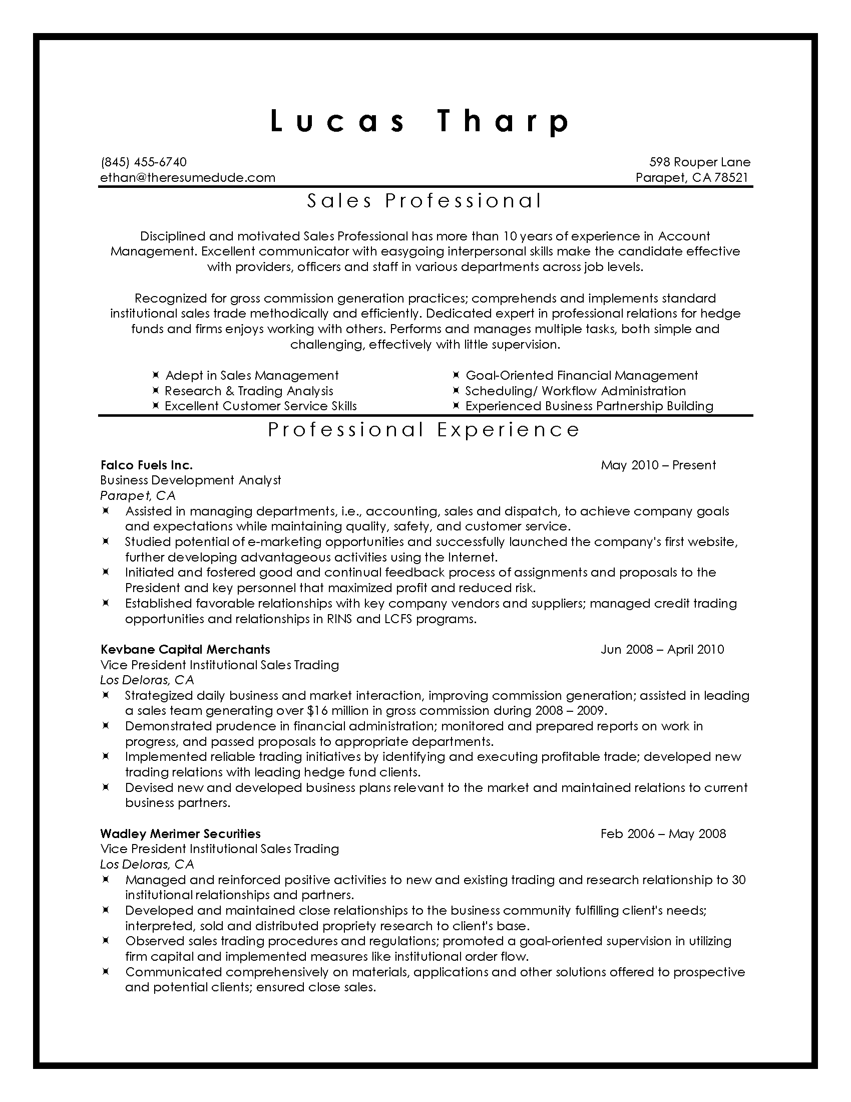 Sales Resume Writing Sample